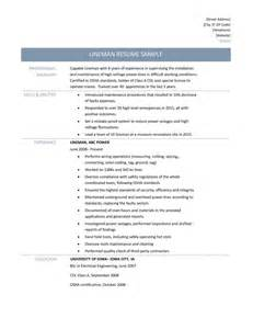High Voltage Electrician Sle Resume by Lineman Resume Resume Cv Cover Letter