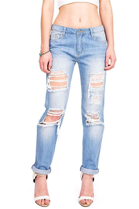Baggy Ripped Boyfriends new womens white mid rise relaxed boyfriend baggy distressed ripped s m l ebay