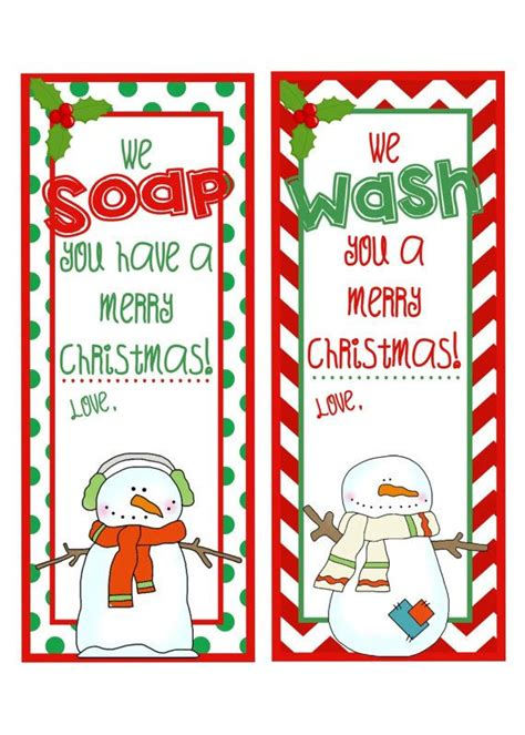 printable christmas gift tags for teachers printable hand soap gift tags we wash you by