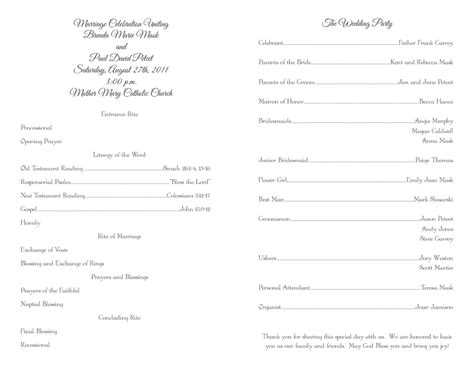 Catholic Wedding Program Template Free Mini Bridal Wedding Mass Program Template