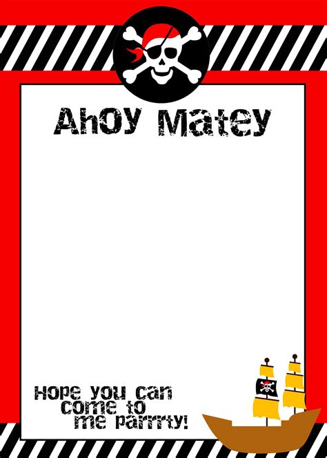 Pirate Birthday Card Template by Pirate Birthday With Free Printables Future