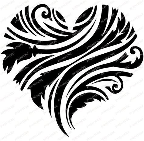 line pattern cdr heart decoration love cnc cut file laser dxf cad drawing