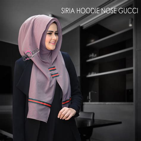 jual siria hoodie nose gucci by dqiara toko jilbab