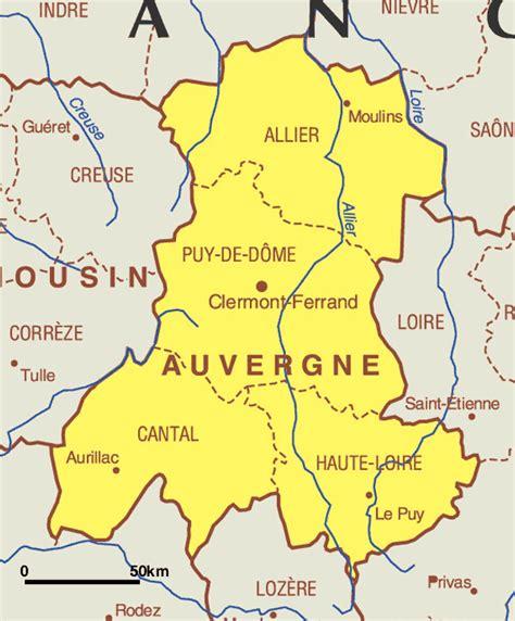 AUVERGNE Carte geographique