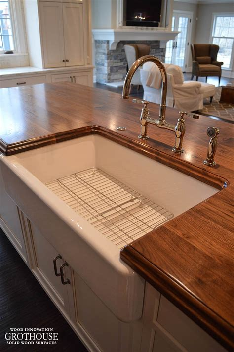 distressed walnut kitchen island counter in twinsburg oh