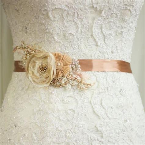 wedding dress belt bridal sash wedding belt rustic gold