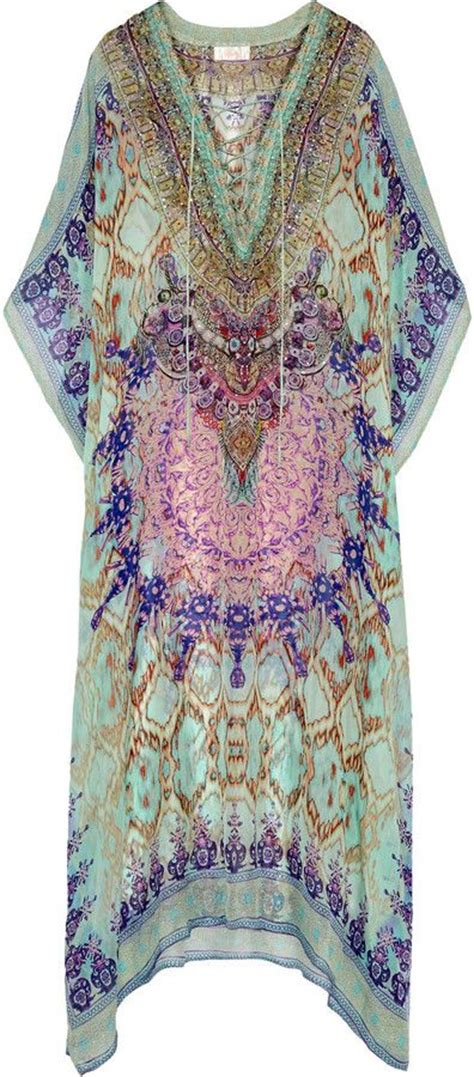 Kaftan Molly Brukat Dress Silk Gamis Maxi camilla sarayi embellished printed silk chiffon kaftan