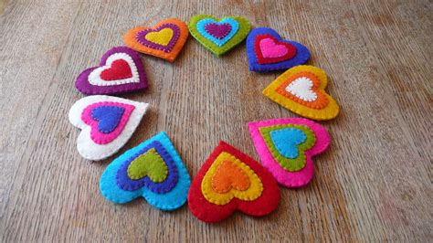 Handcrafted Hearts - work in progress felt hearts for a garland handmade
