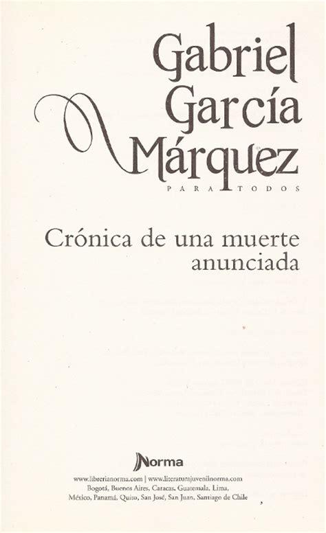 libro cronica de una muerte ejercicio sobre sintaxis y legibilidad cr 243 nica de una muerte anunciada gabriel garc 237 a m 225 rquez
