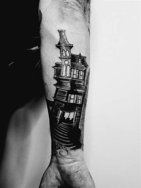 haunter tattoo creepy mansion crooked black and grey haunted