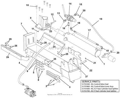 ton diagram ariens 917001 011000 018999 27 ton log splitter