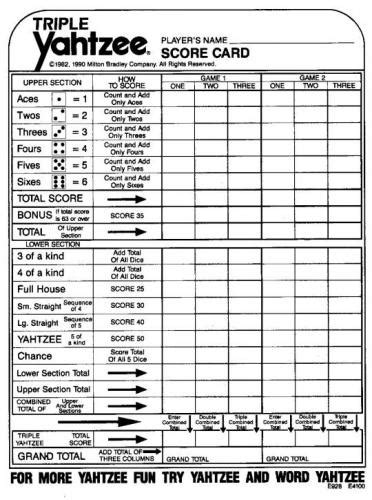 print a yahtzee score sheet best photos of triple yahtzee score sheets printable
