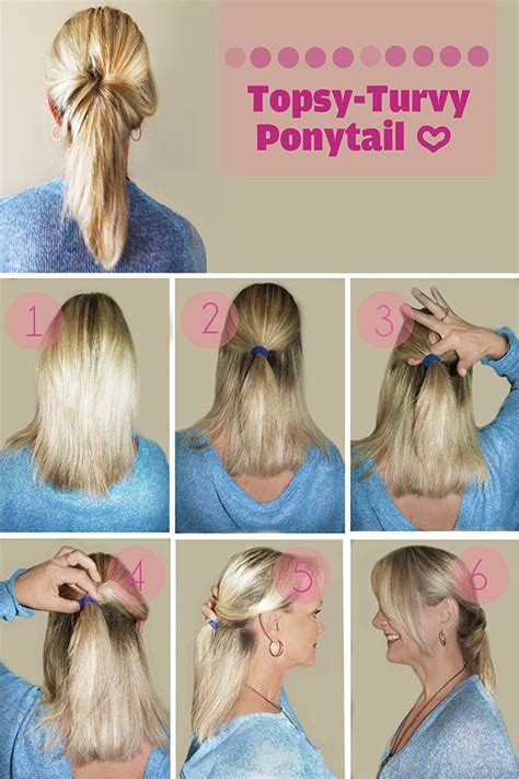 ponytail hairstyles for all lengths of hair tutorial hairstyle tutorial topsy turvy ponytail hair romance