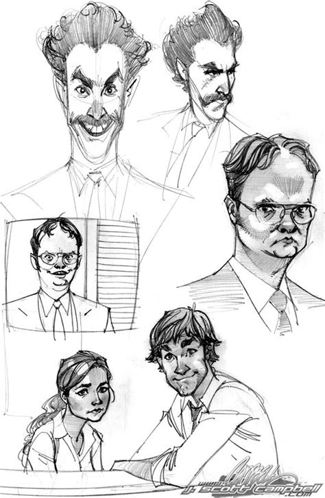 the office and borat sketches by j scott campbell on