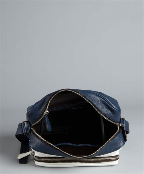 Prada Pebbled Leather Weekend Bag by Lyst Prada Baltic Blue And White Pebbled Leather
