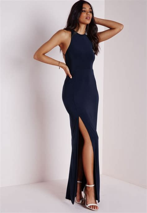 Maxi Vera Navy lyst missguided slinky side split maxi dress navy in blue