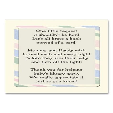Baby Shower Book Request Insert Card Baby Shower Invitation Inserts Templates