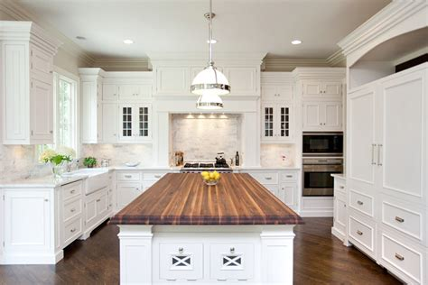 White Kitchen Island With Butcher Block Top Butcher Block Kitchen Island Traditional Kitchen Oakley Home Builders