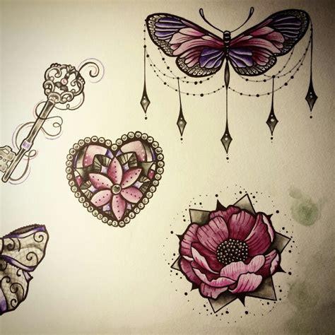 hot jewel tattoo butterfly flower jewels draw nina tattoo pink purple