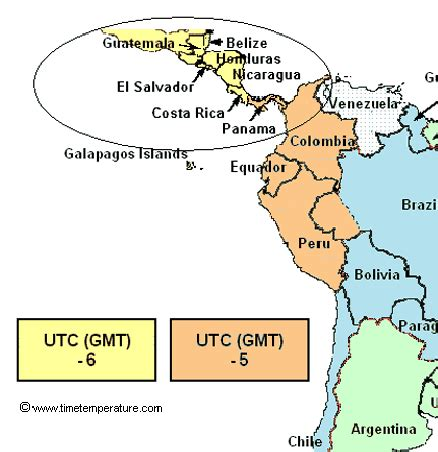 and central america time zones map belize time zone map