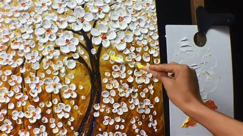 how to remove acrylic paint on a canvas thick paint white flowers acrylic painting