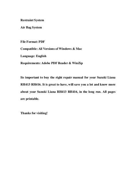 Suzuki Liana Workshop Manual Suzuki Liana Rh413 Rh416 Service Repair Workshop Manual