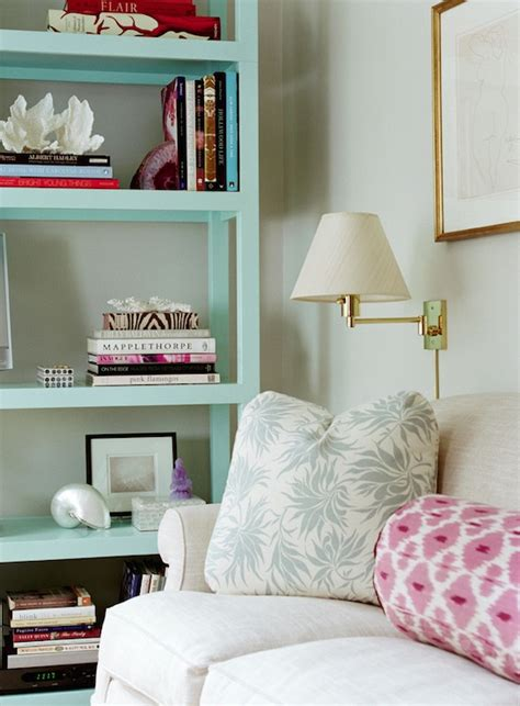 turquoise bookcase transitional living room