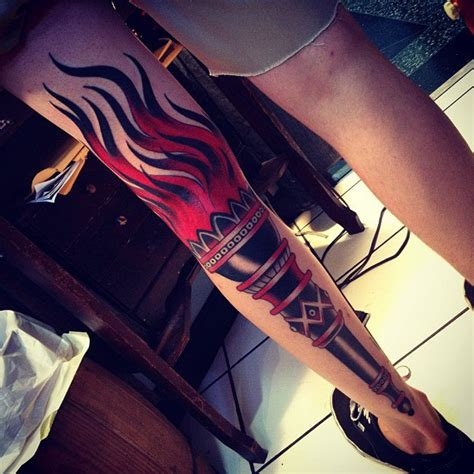 full leg black torch traditional tattoo best tattoo
