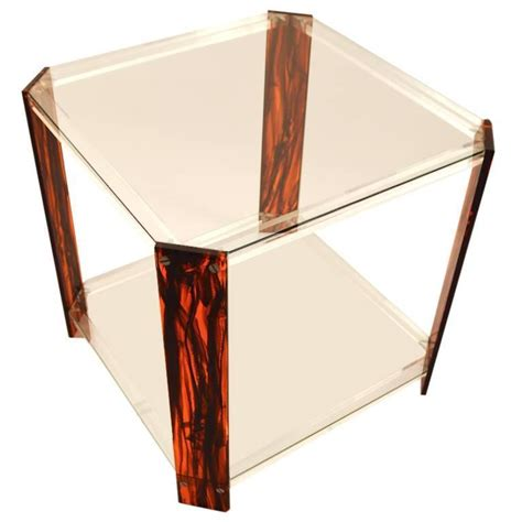 Tortoise Shell Table L by Faux Tortoise Shell Lucite And Glass Table For Sale At