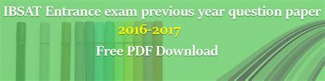Mba Cet 2016 Result Pdf by Ibsat Entrance Previous Year Question Paper 2016