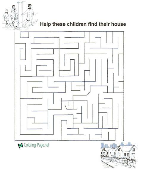 printable mazes kids house
