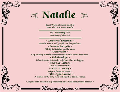 behind meaning natalie meaning of name