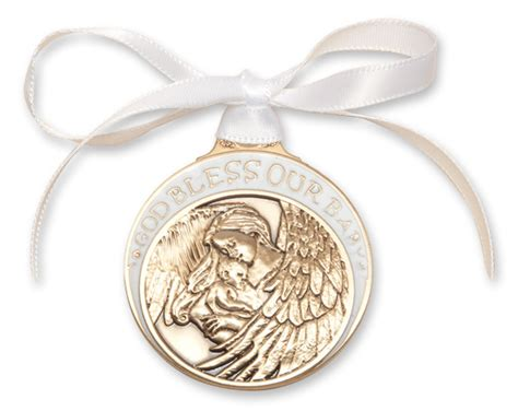 Crib Medals by White Enamel God Bless Our Baby Crib Medal Gold