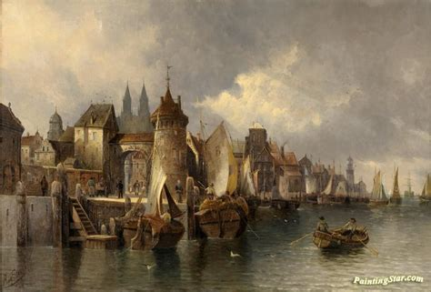 Small A Frame Cabins medieval port city artwork by august von siegen oil