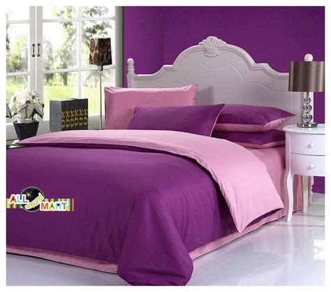 plain purple comforter free shipping 4pcs cotton contrast color bedding set
