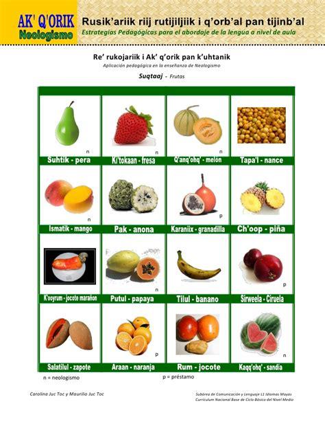 q es vegetables en espa ol nombres de frutas en poqomchi