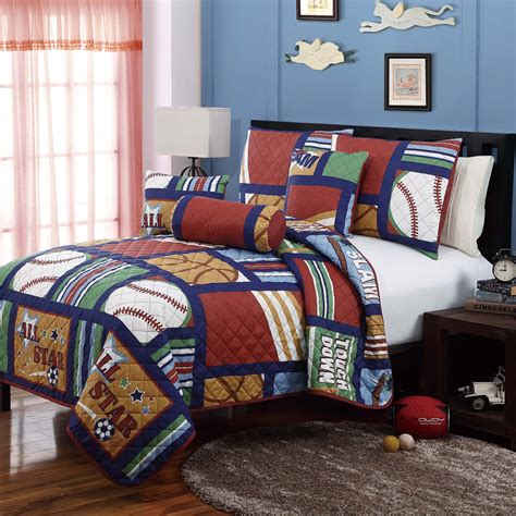 sports theme bedding cali collection all star 5pc quilt