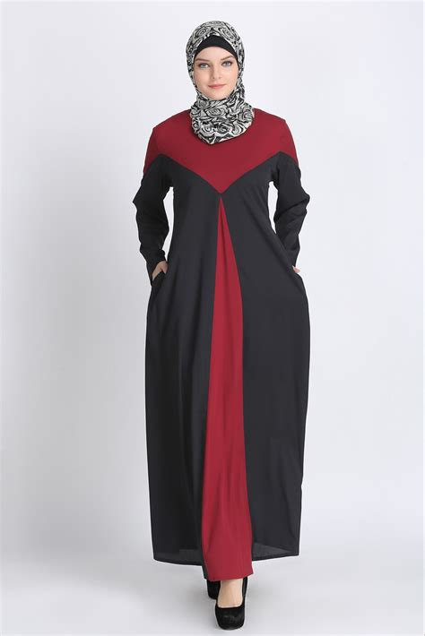 Pleated Maroon Dress line pleated abaya dress maroon islamic clothing