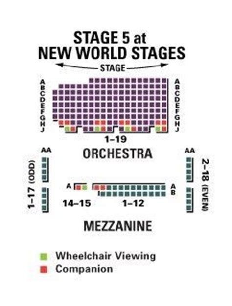 new world stages seating chart new world stages stage 5 shubert organization
