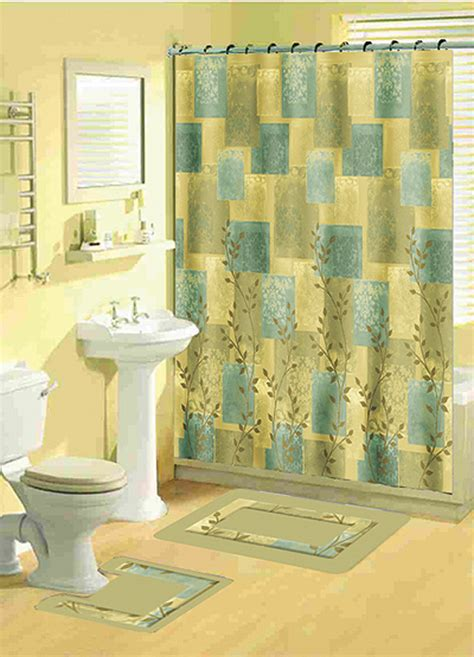 Bathroom Shower Curtain And Rug Sets Home Dynamix Bath Boutique Shower Curtain And Bath Rug Set 331 Soft Squares Shower Curtain