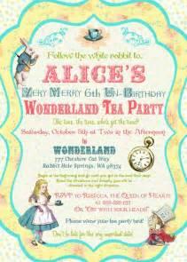 alice in wonderland invitation vintage birthday tea