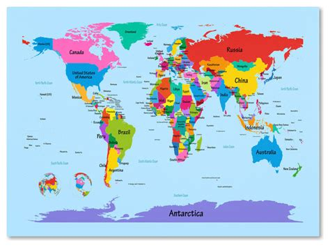 'Childrens World Map' Canvas Art by Michael Tompsett Contemporary Prints And Posters by