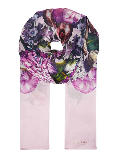 ted baker sunlit silk floral scarf in pink lyst