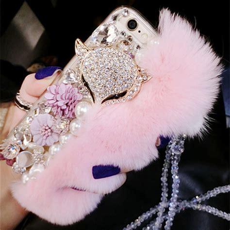 Flower Fur For Iphone 7 Plus Iphone 8 Plus shiny rhinestone fox fluffy rabbit fur w neck