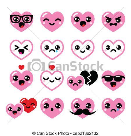 imagenes kawaii romanticas kawaii d 237 a de valent 237 n corazones icono kawaii
