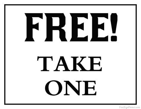 signs free printable free take one sign