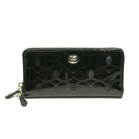 Coach Wallet Embossed Black 1 coach peyton embossed patent accordian zip around wallet black 52079 coach 52079
