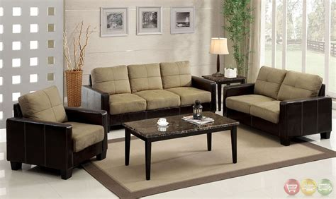 Brown Living Room Sets Laverne Contemporary Brown And Espresso Living Room Set With Elephant Skin Microfiber Cm6598