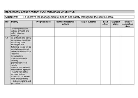 health and safety strategy template health plan template images