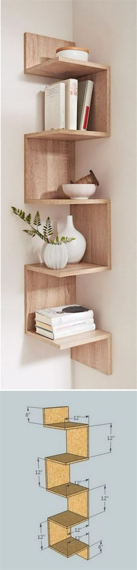 diy corner shelves  beautify  awkward corner